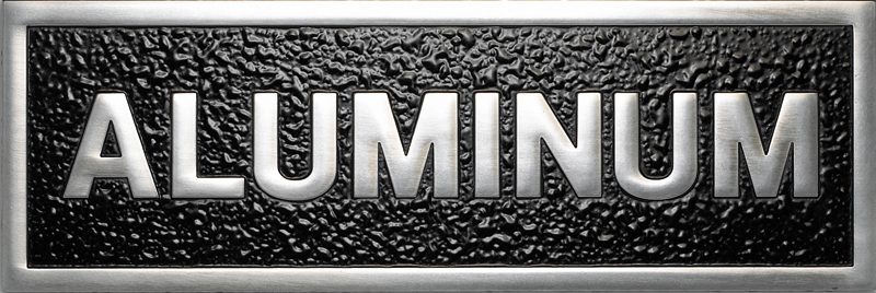 a photo of a polished finish aluminum plaque