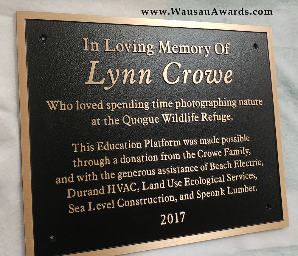 Quogue Wildlife Dedication Plaque