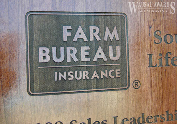 Closeup of a laser engraved wood plaque