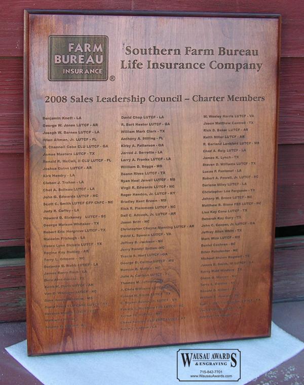 Laser engraved wood plaque