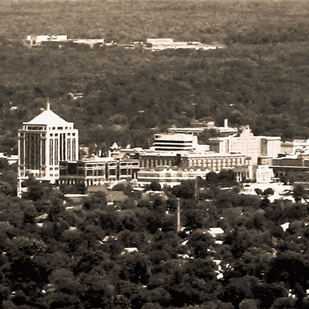 An aerial photo of the Wausau, Wisconsin